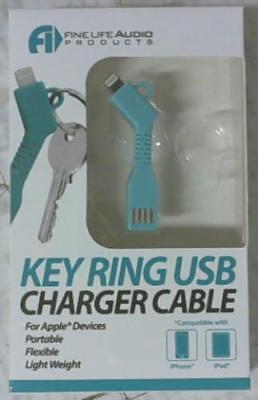 NEW FineLife Audio Products Key Ring USB Charger Cable Light Blue for Apple