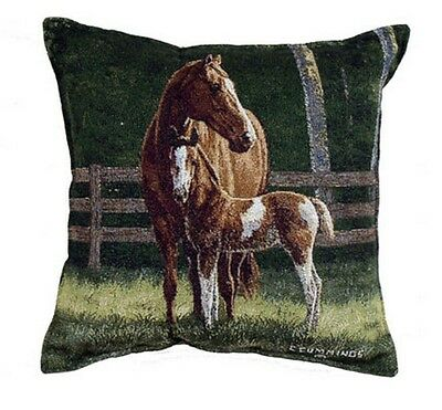 """HORSES Pillow Josie Tapestry Throw 17"""" x 17"""" Made in USA Mom & Colt Animals Farm"""