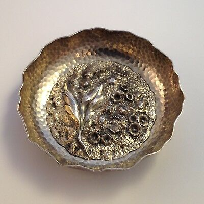 Antique Imperial Russian Romanov Dynasty 84 Silver Ornate Leaf Hammered Bowl