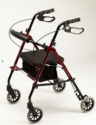 CLEARANCE Alpha 426 Red Rollator - 6'' Wheels, Weighs 6kg, Height Adjustable