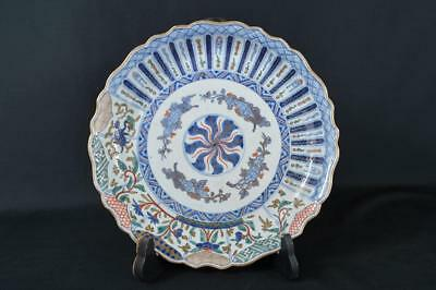 K1695: Japan Old Imari-ware Flower Arabesque pattern BIG ORNAMENTAL PLATE/Dish
