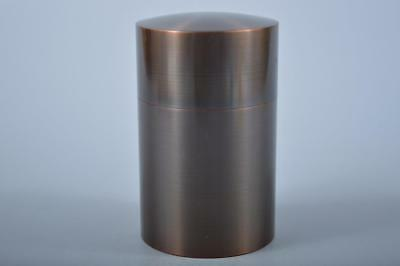 K945: Japanese Copper TEA CADDY Chaire Container, Zuisho made w/signed box