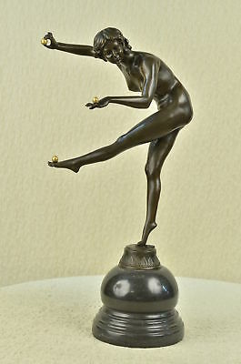 Vintage Signed Colinet Nude Juggler Girl  Bronze Statue Sculpture Figurine Art N