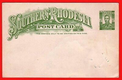 SOUTHERN RHODESIA - KGV1 - 1937 1/2d  POSTCARD - UNDIVIDED BACK - PINHOLES