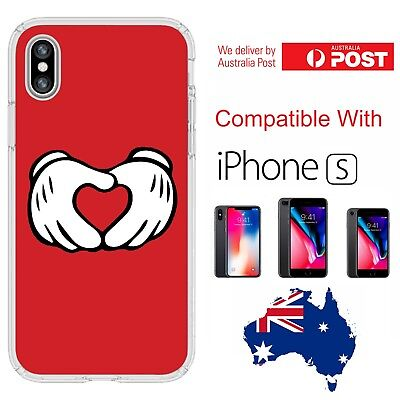 iPhone Silicone Cover Case Mickey Mouse Hands Love Heart Cute Disney - Coverlads
