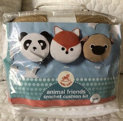 Animal Friends Crochet Cushion Kit - Pug