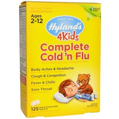 Hyland's 4 Kids Complete Cold 'n Flu, 125 Homeopathic Tablets Ages 2-12 UK Stock