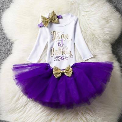 Baby Girl First 1st Birthday Outfit Dress Tutu Cake Smash Party Purple One