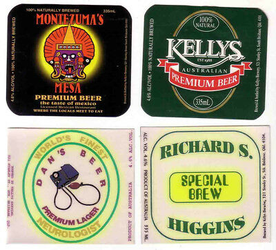 AUST. Qld. KELLYS BREWERY.  4 MICROBREWERY LABELS.  ALL MINT.