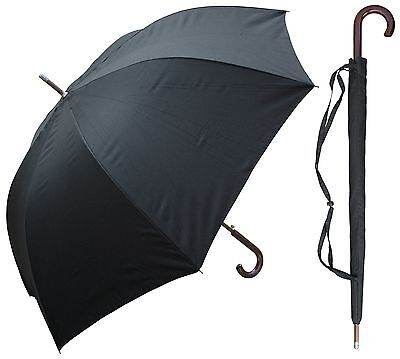 "Lot of 12 - 60"" Auto-Open Black Doorman Umbrella - RainStoppers Rain/Sun UV"