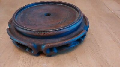 Antique Chinese Carved Wooden Mahogany Vase / lamp / bowl / Stand