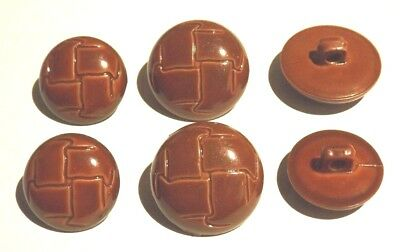 """¾"""" 19.5mm OR 22.5mm SHINY LIGHT BROWN PLASTIC FOOTBALL STYLE BUTTONS SHANK BACK"""