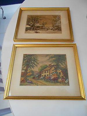 Embroidered Framed Prints-Birthplace Howard Payne & Farmyard Winter-Vg+