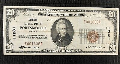 1929 20.00 American National Bank of Portsmouth VA CH# 11381 VERY FINE
