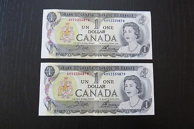 Canadian $1 $1.00 One Dollar Bill Note Canada Consecutive Number 1973 AMV2354878