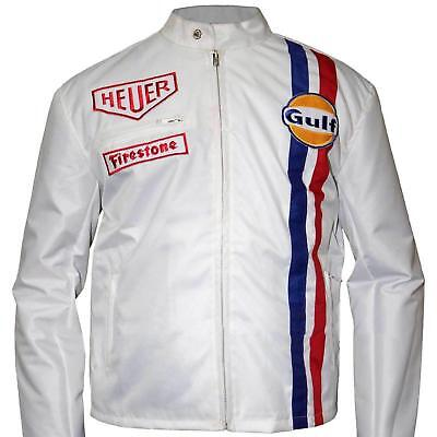 Steve McQueen Le Mans Boys White Gulf Racing Style Stripes White Leather Jacket