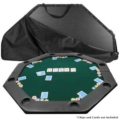 Octagon Poker Table Top Green Felt Gaming Layout Foldable Cup Holder Padded 51""