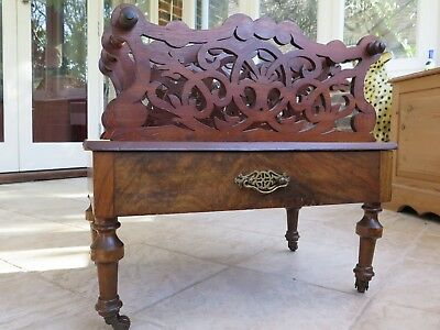 Antique Canterbury on Wheels with Drawer - Magazine Rack Nice Condition