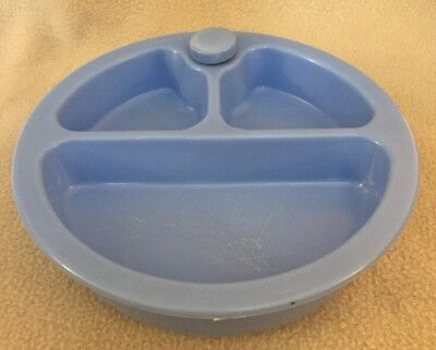 Vintage Plastic Child's Divided Hot Water Blue Warming Bowl Dish w/cork Stopper
