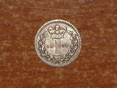 GB England 1867 silver Penny coin Queen Victoria nice Maundy