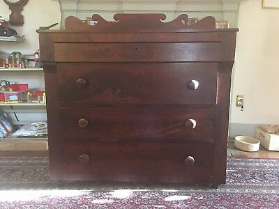 Antique cherry and FLAME MAHOGANY DRESSER or Server with Sheraton backsplash