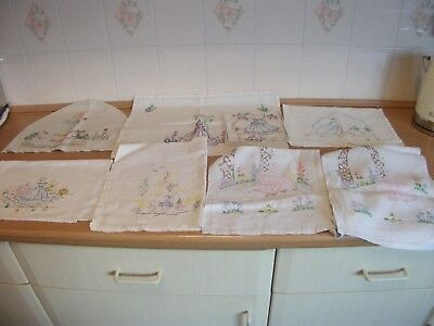 Embroidered Tea Cosy/Place/TrayMats/Table Runner - Crinoline Ladies x 7 Items