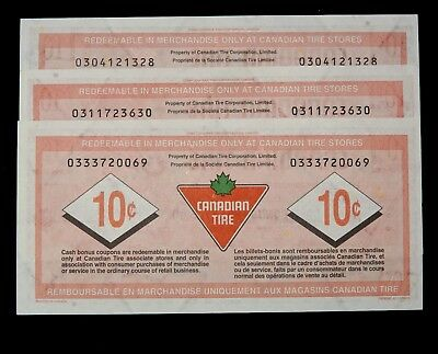 Three Ten Cent Canadian Tire Coupons 2006-7 Issue CTC S27-C06, S28-C06 & S28-C07