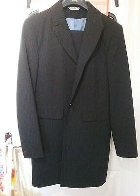 Womens 3/4 blue pin striped suit size 14 VGC