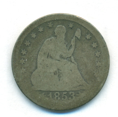 1853 Arrows And Rays Seated Liberty Quarter