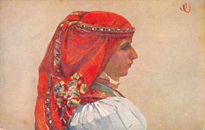 Czech Republic Kunovic Girl with Head Scarf Antique Postcard J74401