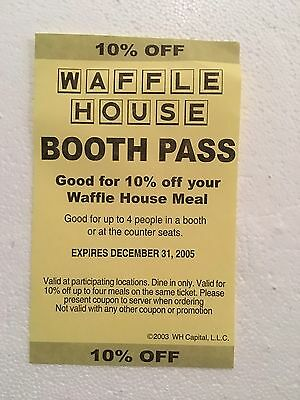 Waffle House --The Waffle House Booth Pass From 2003