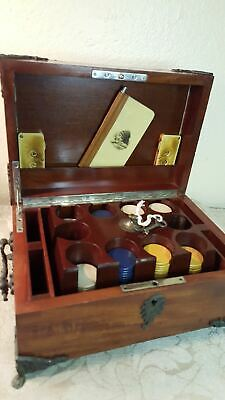 Antique 19th. Century walnut poker gaming box with chips, etc