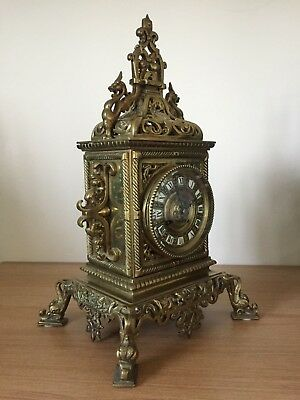 X Large Antique French Bronze Cube Clock, Mantel Clock, 8 Day Striking