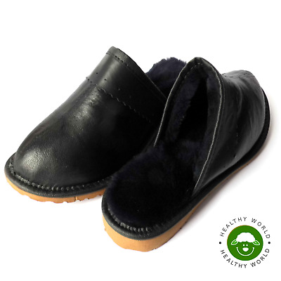 Luxury Women GENUINE SHEEPSKIN & CALFSKIN Leather Slippers Flat Hard Sole, Black