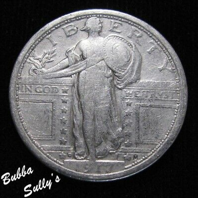 1917 D Type I Standing Liberty Quarter <> VERY FINE