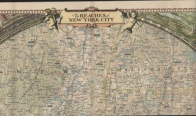 Map. Reaches Of New York City 1939. Decorative Borders .   HL3..241