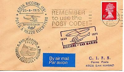 Gb Queen Elizabeth Ii 1975 Commemorative Cover Flown By Helicopter To San Marino
