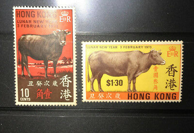 Hong Kong 1973 Lunar Chinese New Year of Cow Stamps MNH