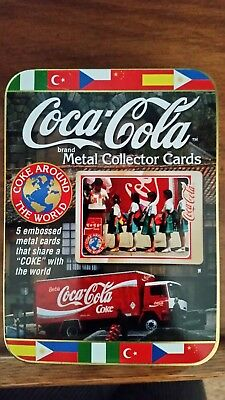 Vintage Coca-Cola Coke Around the World 1996 Metal Collector Cards set of 5