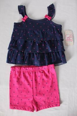 Baby Girls 2 Piece Set Size 6 - 9 Months Tank Top Shirt Shorts Outfit Blue Pink