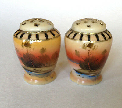Hand Painted Salt And Pepper Shakers - Tree In The Meadow With Gold Beading
