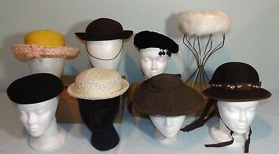 Lot 8 VTG Girls Hats Very Small Ladies Straw Wool Fur Photo Studio Stage Prop