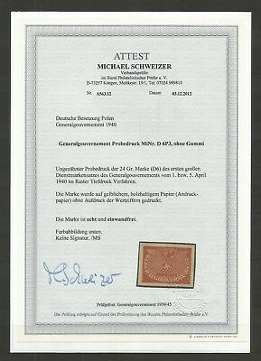 Generalgouvernement,Mi:D 6P3,Unlisted in cat.,PROOF!,certificate!!!