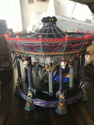 Dept 56 Ghostly Carousel Halloween Snow Village 55317 Sound Light Witch Skeleton