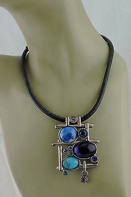 Vintage Art Studio Necklace Pendant Silver Gripoix Style Glass Purple Blue Deco