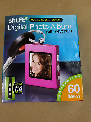 Shift Digital Photo Album With Keychain Rechargeable Extra Slim 60 Images New