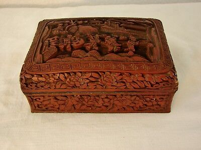 Vintage or older Asian, Chinese deep hand carved dark red cinnabar box with lid