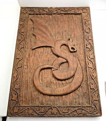 Vintage Hand Carved Wooden Mystical Dragon Wall Plaque 1960's Mahogany??