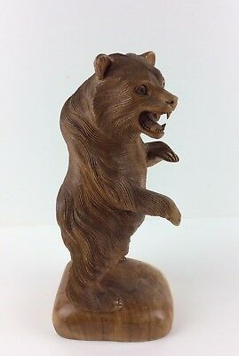 Rare Vintage Hand Carved Detailed Large Wooden Grizzly Bear Statue.