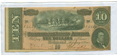 Authentic 1864 $10 Confederate Currency Csa Civil War
